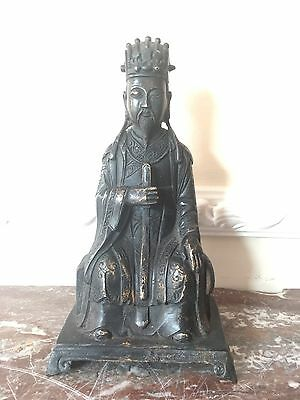 Very Unusual Old Chinese Bronze Buddha Statue Character Marks To Back Very Rare