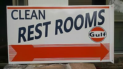 2 sided GULF CLEAN REST ROOMS advertising flange metal sign pointing arrow