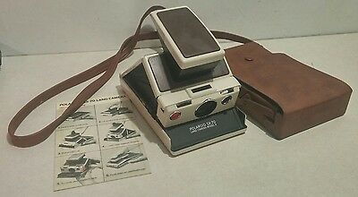 Vintage Polaroid SX-70 Land Camera Model 2 White W/ Leather Case & Manual