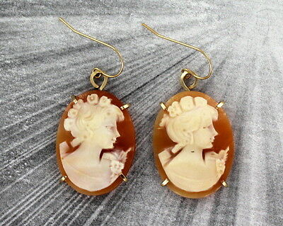 Vintage Antique Shell Cameo Earrings Hand Carved in Italy in 14KT Rolled Gold