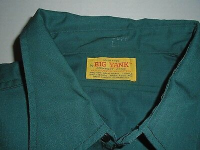 Vintage Big Yank Green Shirt Union Made Tag, Polyester Cotton - Size L