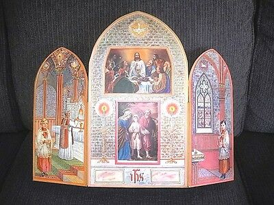Very Rare Large Red Scrolling Religious Triptych Icon From Convent w/org. Box