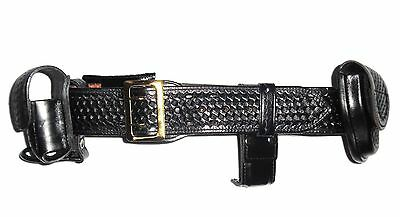 Bianchi B2 Police Security Belt Leather Basketweave w/ Accessories Sz 26''-32''