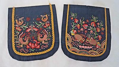STRIKING ANTIQUE c1900 CHINESE EMBROIDERY / STITCH WORK - TWO POCKETS?