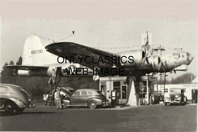 1947 World War Two Usaf Bomber Airplane Gas Station Photo Aviation Automobilia