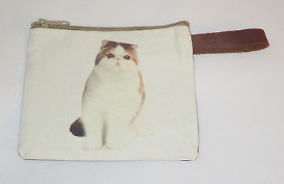 "Exotic Shorthair Cat Makeup Bag Leather Strap New Zippered 4"" x 6"" Kitten Kitty"