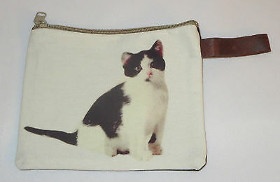 "Black White Cat Makeup Bag Leather Strap New Zippered 4"" x 6"" Kitten Kitty"