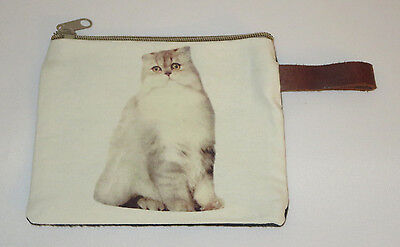 "Gray White Cat Makeup Bag Leather Strap New Zippered 4"" x 6"" Kitten Kitty Pets"