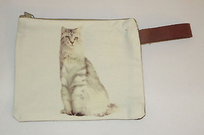 "Gray White Cat Makeup Bag Leather Strap New Zippered 4"" x 6"" Kitten Kitty Tabby"