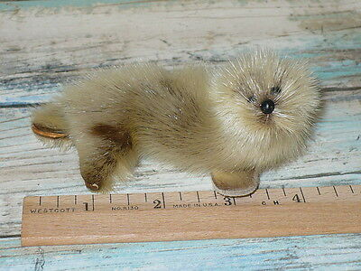 "REAL Fur Miniature SEAL w/ Leather Flippers Collectible Animal Toy 4"" long"