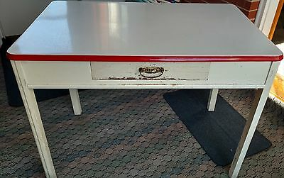 Vintage Red ENAMEL TOP TABLE Porcelain Farmhouse Country Shabby Chic