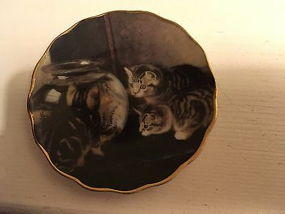 """Kittens & Fishbowl 3 1/4"""" Plate By 1898 China Company"""