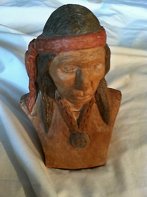 SALE! Vintage ALEX Original Carved Wood Head Bust Sculpture Carving