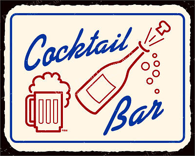 (VMA-G-1036) Cocktail Bar  Vintage Metal Art Champagne Retro Tin Sign