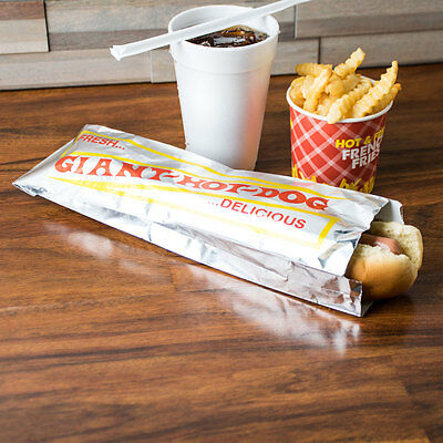 "Hot Dog Hotdog Foil Bags for Concession Use 1000 case   3"" x 2"" x 12"""