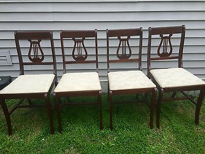 Antique Vintage Wooden Lyre Back Chairs - Mahogany set of 4