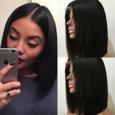 African American Short Human Hair Bob Cut Wigs With Bangs Glueless Full Lace Wig