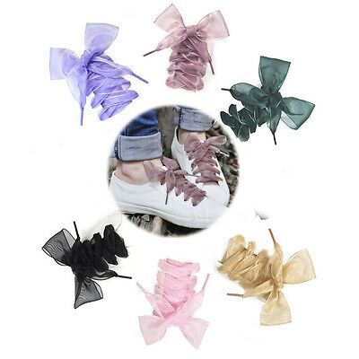 New Chic Shoelaces Flat Silk Satin Ribbon Sport Shoes Laces Sneakers Shoestrings