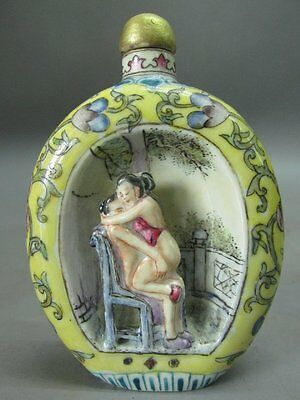 Chinese Porcelain Person Character Flower Pattern Snuff Bottle