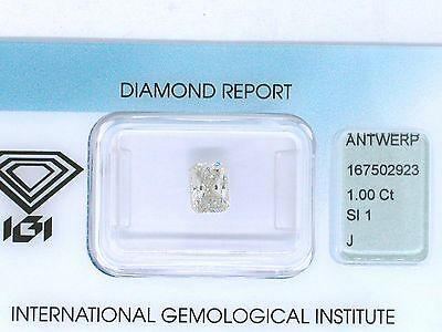 Natürlicher Diamant Cut Cornered Rectangular 1,00ct J Si1 IGI Zertifikat sealed