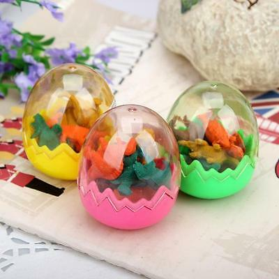 1 set of Lot Tiny Dinosaurs Pencil Eraser in Egg Collectibles Stationery Toy CXa