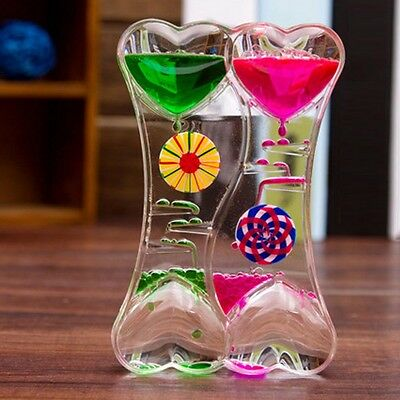 Bicolor Oil Leakage Dynamic Hourglass Gorgeous Sandglass Timer Clock Party Decor