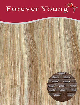 Invisible Seamless Blonde Mix Clip in Remy Human Hair Extensions Forever Young