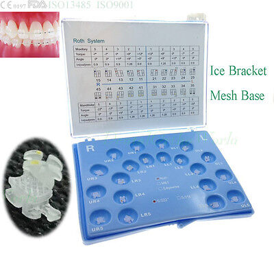 1 PK Ice Crystal Ceramic Brace Roth 022 Dental Orthodontic 345 w/Hook Molar Band