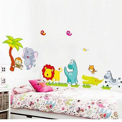 HaXNy Jungle animal Wall decal Removable stickers kids Baby nursery decor art Xa