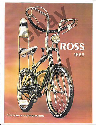 VINTAGE PRINT  FULL COLOR AD 8 X 11 ROSS BICYCLES    FOR 1969 Barracuda