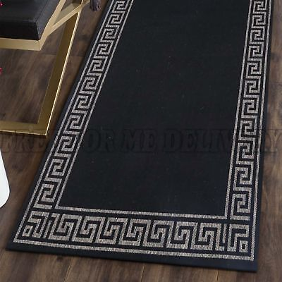 EVEREST INDOOR OUTDOOR BLACK GREEK KEY RUG RUNNER 67x235cm **FREE DELIVERY**
