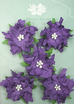GARDENIA Flowers & Leaves PURPLE Mulberry Paper 5 Pk 50-55mm across Green Tara A