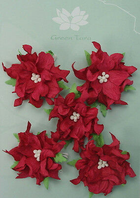 GARDENIA Flowers & Leaves RED Mulberry Paper 5 Pk 50-55mm across Green Tara