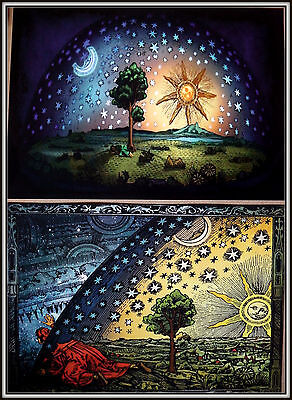 (42x30cm) 2 Flat Earth Prints - Flammarion Engraving 1888 + Firmament Dome Art
