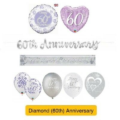 DIAMOND 60th Wedding ANNIVERSARY Party Banners, Balloons & Decorations