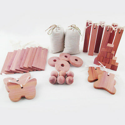 40pcs/set Cedar Wooden Moth Ball Hangers Blocks Repellent Wardrobe Drawer