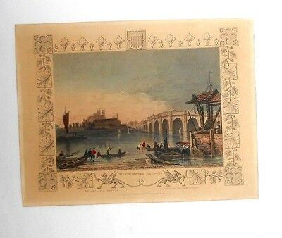 Antique W.Tombleson Westminster Bridge hand coloured steel line engraved print