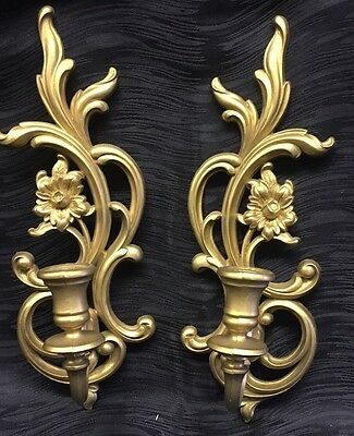 Vintage Gold Syroco Ornate Elegant Wall Sconce Swirls Flowers 3933