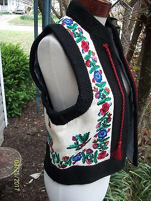 Women's Vintage Ethnic Hungarian Hungary Colorful Matyo Embroidery Folk Vest M