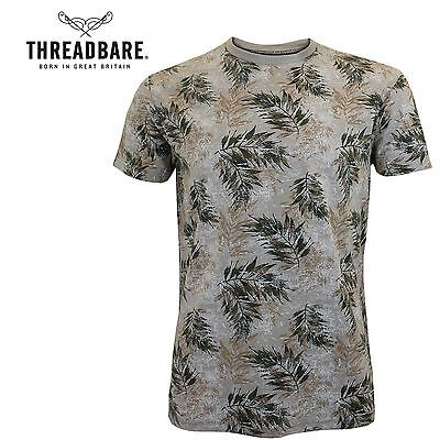 Mens Threadbare Short Sleeve Faded Leaf Floral Summer T-Shirt 100% Cotton Top