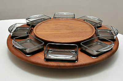 Teak Tray Rondell Lazy Susan DIGSMED mit 8 Glass inserts made in Denmark