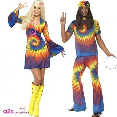 1960's 60s Groovy Tie Dye Adult Mens Womens Fancy Dress Costume Retro Outfit New