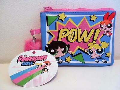 Rare Cartoon Network Powerpuff Girls Glitter Zipped Coin Purse Mini Makeup Case