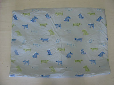EUC Pottery Barn Duvet Cover with Comforter Dogs Green Blue Toddler Bed Boys