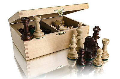 STAUNTON No.5 IN NATURAL WOODEN CRAFTED BOX! WEIGHTED PROFESSIONAL CHESS PIECES!