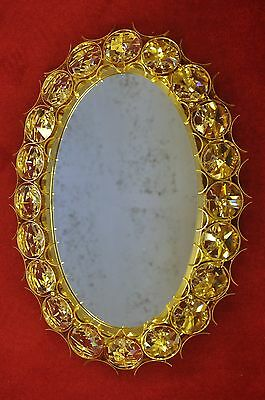 luxurious illuminated PALWA Brass - Crystal mirror with large Glass cabochons
