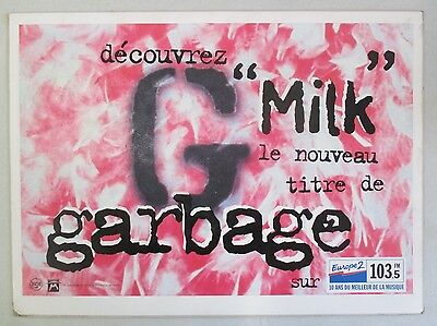 1996 French Original Garbage Band Promo Poster For The Single Milk Europe