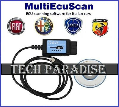 Interface Valise diagnostic ELM327 V1.4 OBDII USB MultiEcuScan 3.7 Fiat