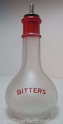 Old Bitters Frosted Glass Bottle red lettering great old advertising liquor jar