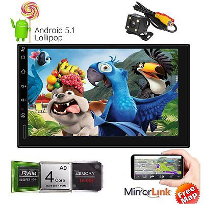 "Quad Core Android 5.1 WIFI 7"" Double 2DIN Car Radio Stereo GPS SAT Nav Bluetooth"